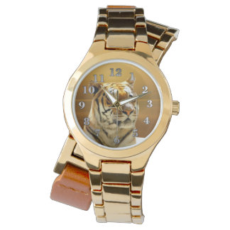 Goldener Tiger Armbanduhr