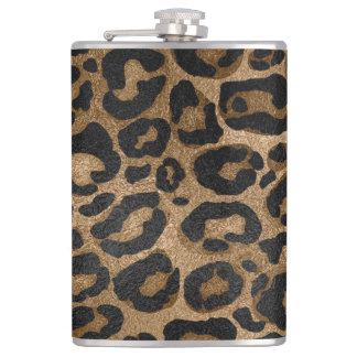 Goldener und schwarzer Glitter Leopard-Jaguardruck Flachmann