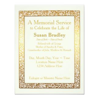 Goldener Vintager Rahmen-Erinnerungsservice 10,8 X 14 Cm Einladungskarte