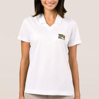 Goldener Weihnachtsflitter mit weißem Band Polo Shirt