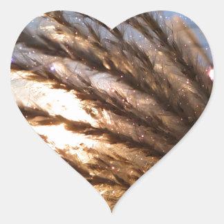 Goldener Weizen-helle Strahlen mit einer Herz-Aufkleber