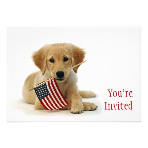 Goldener Welpe und amerikanische Flagge Ankündigungskarten