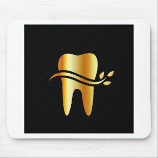 Goldener Zahn mit Blätter Mousepad