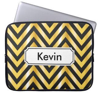 Goldener Zickzack großartiger Kunst-Deko Laptop Sleeve