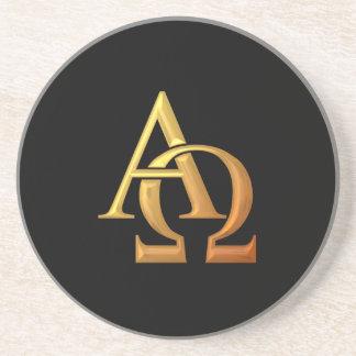 """Goldenes """"3-D"""" Alpha und Omega-Symbol Sandstein Untersetzer"""