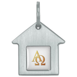 "Goldenes ""3-D"" Alpha und Omega-Symbol Tiermarke"