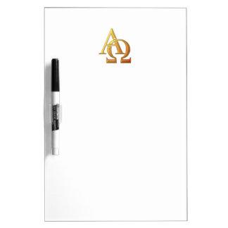 """Goldenes """"3-D"""" Alpha und Omega-Symbol Trockenlöschtafel"""
