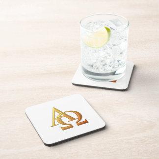 "Goldenes ""3-D"" Alpha und Omega-Symbol Untersetzer"