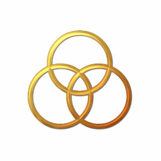 "Goldenes ""3-D"" Dreiheits-Symbol Freistehende Fotoskulptur"