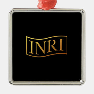 """Goldenes """"3-D"""" INRI Silbernes Ornament"""