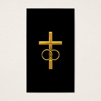 Goldenes 3-D Kreuz mit Eheringen Visitenkarte