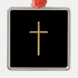 "Goldenes ""3-D"" Kreuz Silbernes Ornament"