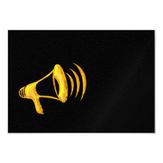 """Goldenes """"3-D"""" Megaphon 8,9 X 12,7 Cm Einladungskarte"""
