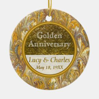 Goldenes 50. kundenspezifisches Andenken des Keramik Ornament