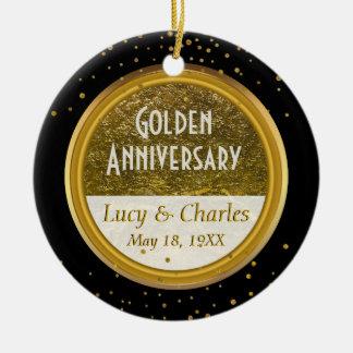 Goldenes 50. kundenspezifisches Andenken des Rundes Keramik Ornament