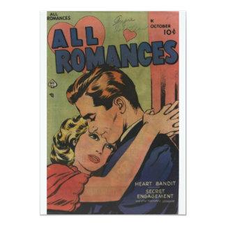 Goldenes Alters-Comic-Kunst - alle Romances 12,7 X 17,8 Cm Einladungskarte