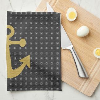 Goldenes Anker-Schwarz-Doppeltes Handtuch