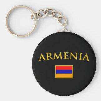 Goldenes Armenien Standard Runder Schlüsselanhänger