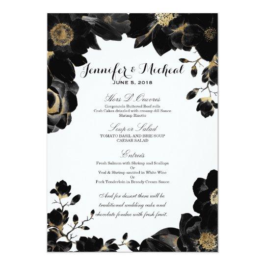 Goldenes betontes schwarzes Blumenhochzeits-Menü 12,7 X 17,8 Cm Einladungskarte