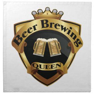 Goldenes Bierbrauen-Königin-Kronen-Wappen Stoffserviette