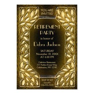 Goldenes Blätter des Ruhestands-Party-| 12,7 X 17,8 Cm Einladungskarte