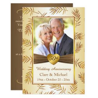 Goldenes Blätter, Herz 50. Hochzeits-Jahrestag 12,7 X 17,8 Cm Einladungskarte