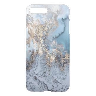 Goldenes blaues abstraktes MarmorierungiPhone7 iPhone 8 Plus/7 Plus Hülle