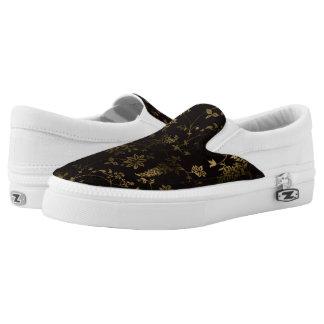 Goldenes Blumen Slip-On Sneaker