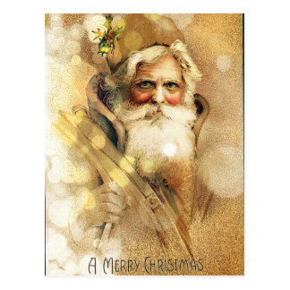 Goldenes Bokeh Vintager Weihnachtsmann Postkarte