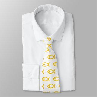 Goldenes christliches Fisch-Kruzifix   religiös Krawatte