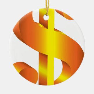 Goldenes Dollar-Zeichen Keramik Ornament