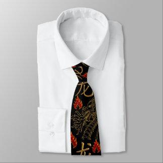 Goldenes Drache-Feuer - schwarzes Goldrot - Individuelle Krawatte