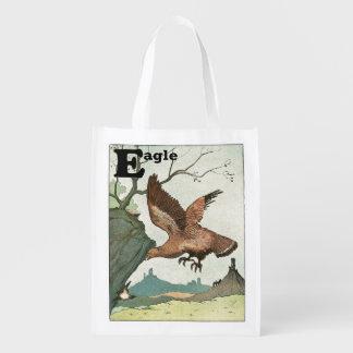 Goldenes Eagle-Geschichten-Buch-Alphabet Wiederverwendbare Einkaufstasche