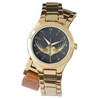 Goldenes Fliegenherz Uhr