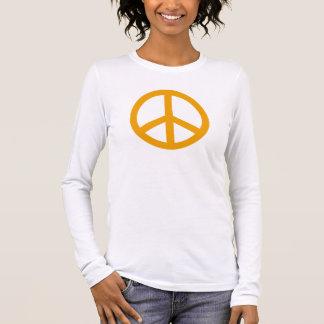 Goldenes gelbes Friedenssymbol personalisiert Langarm T-Shirt