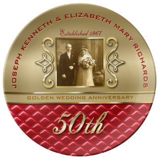 Goldenes gestepptes rotes Leder des Jahrestags-50. Teller