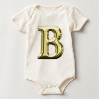 Goldenes glänzendes Alphabet des Buchstabe-B Baby Strampler
