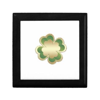 Goldenes glückliches Kleeblatt des entzückenden Erinnerungskiste