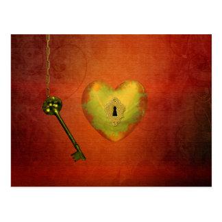 Goldenes Herz mit Schlüssel - Postkarte