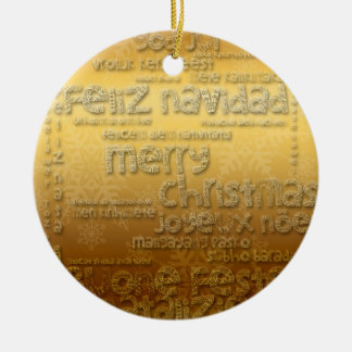 Goldenes internationales Weihnachtsrunde Rundes Keramik Ornament