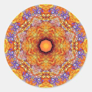 Goldenes Iris-Mandala-NO1 Runder Aufkleber