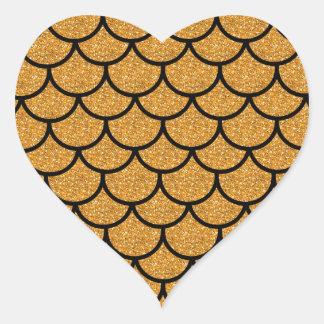 Goldenes Kamm-Muschelmuster Herz-Aufkleber
