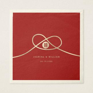 Goldenes Knoten-Doppelt-Glück-Wedding Papierserviette