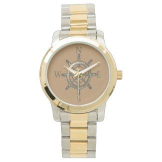 Goldenes Kompass-Rad Uhr