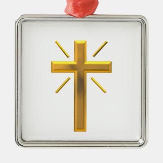 Goldenes Kreuz 4 Silbernes Ornament
