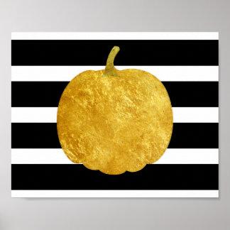Goldenes Kürbis-Silhouette-Plakat Poster
