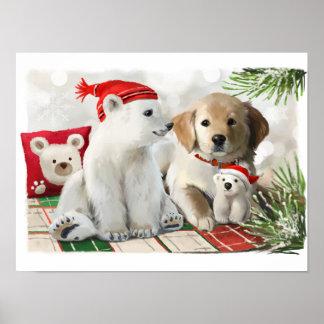 Goldenes Labrador und der Eisbär Poster