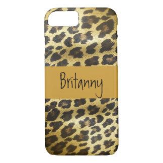 Goldenes Leopard-Pelz-Tier mit Namen iPhone 8/7 Hülle