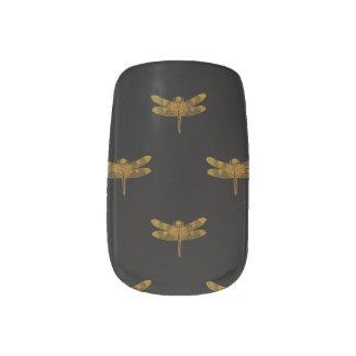 Goldenes Libellen-Wiederholungs-Goldmetallische Minx Nagelkunst