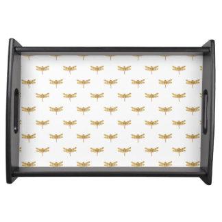 Goldenes Libellen-Wiederholungs-Goldmetallische Serviertablett